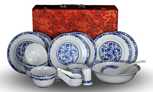 Japanese Dining Set - 28-piece Bone China Blue and White Dinnerware Set Service for 6 Rice Bowl Set Jingdezhen, (blue lotus)