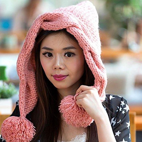 Beige señora Corea Versión Punto PINK torcedura Sombrero Invierno Maozi para de Estrellas otoño Mano Coreana Sombreros 4z6gq6v