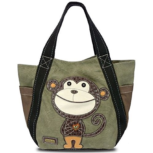 Carryall Zip Tote - Monkey in Olive By Chala