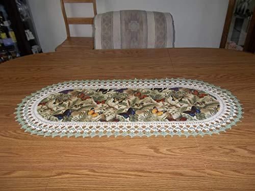 Scarf Butterflies Dresser (Table Runner, Butterflies Crocheted, Multi Colored Fabric Center Crocheted Edge Oval Centerpiece Handmade Dresser Scarf)