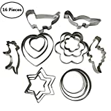 Tsuen 16 Pieces Stainless Steel Cookie Cutter Set, Star Heart Circle Flower Dinosaur Shape Cookie Biscuit Cutter Cookie Mold Pastry Cutters Fondant Cutters, Pack of 16