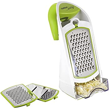 Native Spring 3 in 1 Ergonomic Grater and Container Cheese Vegetable Slicer with Interchangeable Stainless Steel Blades