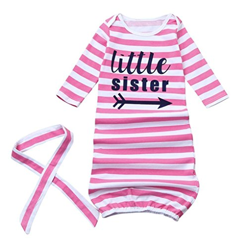 GSHOOTS Baby Letter Printed Striped Sleeper Gown