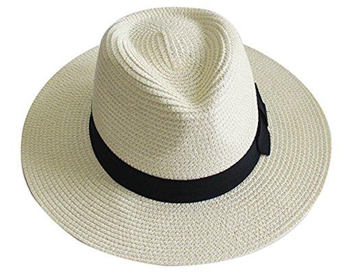 YUUVE Women Wide Brim Straw Hat Panama Hat Fedora Beach Sun Hat White