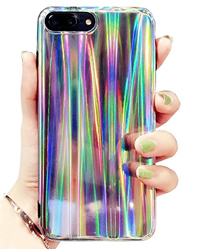 J.west iPhone 7 Plus/8 Plus Case Psychedelic Rave Holographic Iridescent Shockproof Sparkle Bling Glitter Shiny Cover Laser Beam Thin Soft TPU Protective Case for iPhone 7 Plus / 8 Plus, Colorful ()