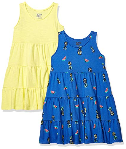 Spotted Zebra Girls' Toddler 2-Pack Knit Sleeveless Tiered Dresses, Mixed Fruit/Yellow, 2T