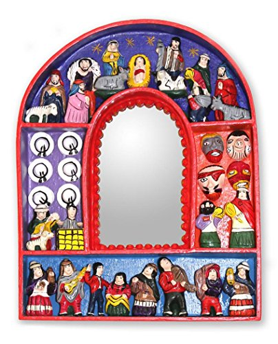 NOVICA Religious Wood and Ceramic Wall Mounted Mirror, Multicolor 'Jesus in Ayacucho' from NOVICA