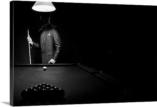 Mystery Pool Player Behind Rack of Billiard Balls Canvas Wall Art Print