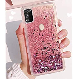 kc liquid flowing glitter sparkle stars bling bumper soft silicone transparent back cover for samsung galaxy m31 (rose…