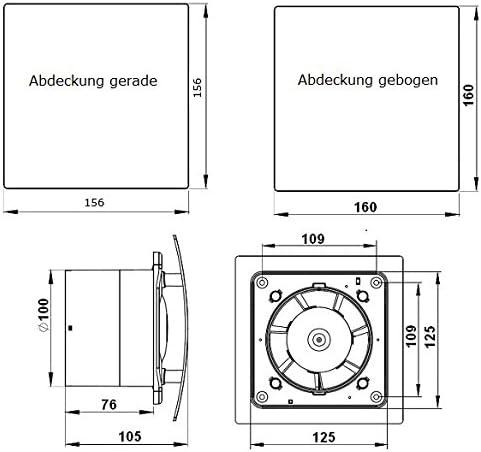 TRICO Design Wohnrauml/üfter Leiser Ventilator Badl/üfter R/ückstauklappe Nachlauf /Ø 100 mm Hochglanz wei/ß 18197-001 MKK