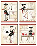California, Spain, France, Toscana Wine Fashionista Set by Andrea Laliberte; Four 8x10in Poster Prints
