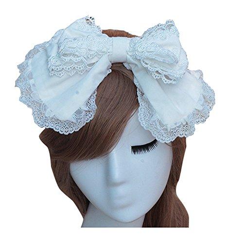 (Xairx Women's Sweet Lolita Headband White Lace Bow Lolita Headdress)