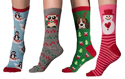 Mens & Womens Fun Novelty Holiday Halloween Xmas Hannukah Socks- One Size Fits Most (One Size Fits Most (Shoe-4-10), Christmas 4PK Crews-Penguin/Owl/Pink Snowman/Dog Reindeer)
