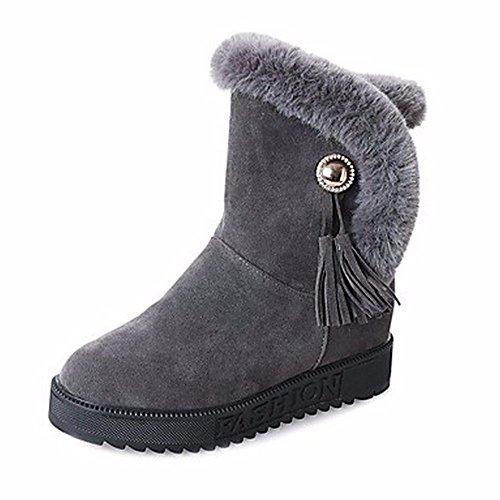 D'hiver Zhudj Neige Noir Bout Casual Gris mi Wear Bottes Femmes Chaussures Inflorescence De Staminifera Gris mollet Bottes Vert Rond qIw1qfrXx