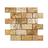 brick fireplace remodel Scabos Travertine 2 X 4 Brick Mosaic Tile (Honed and Deep Beveled)