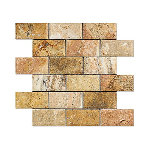 (Scabos Travertine 2 X 4 Brick Mosaic Tile (Honed and Deep Beveled) )