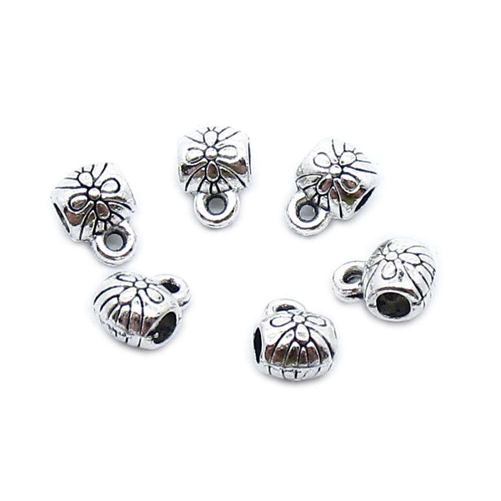 2030 pcs Antique Silver Plated Jewelry Charms Findings Craft Making Vintage Beading XB4T2H Tube Bead Bail Cord Ends