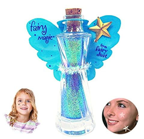 Fairy Magic - Face & Body Glitter-Star Wand Applicator-Glitter Tatoo (Aqua) - Butterfly Perfume Stopper Bottle