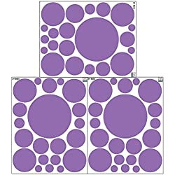 Polka Dot Wall Stickers, Wall Decor Stickers, Wall Dots, Vinyl Circle Room Dot Decals (Lavender)