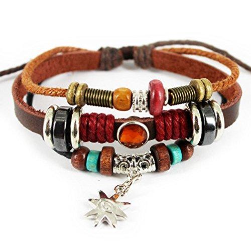 MORE FUN The Start Alloy Pendant Woven Handmade Multistrand Leather Wrap Bracelet,Adjustable