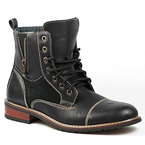 Ferro Aldo MFA-808561 Black Mens Lace up Military Combat Work Desert Ankle Boot w/ Leather Lining - Footwear Combat Boots
