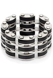 Black Link Steel Mens Ring
