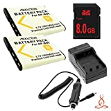Two Halcyon 1200 mAH Lithium Ion Replacement Battery and Charger Kit + 8GB SDHC Class 10 Memory Card for Sony Cyber-shot DSC-W620 14.1 MP Digital Camera and Sony NP-BN1