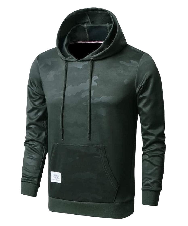 Macondoo Men Sports Fashion Pullover Camouflage Top Hooded Sweatshirts