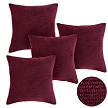 Deconovo Corduroy Tufted Pillow Case Cushion Cover for Sofa, 18x18-inch, Dark Red, Set Of 4
