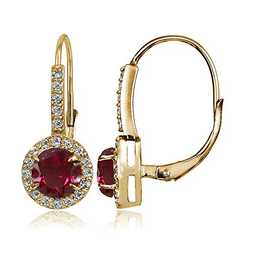 Yellow Gold Flashed Sterling Silver Created Ruby and Cubic Zirconia Accents Round Leverback Earrings ()