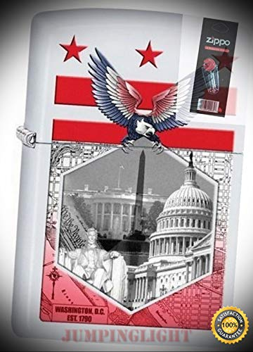 29084 Washington dc Collage White Matte Lighter with Flint Pack - Premium Lighter Fluid (Comes Unfilled) - Made in - Collage Maiden
