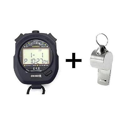 Cuzit Sw2030trois rangées de 30mémoire Chronomètre seconde Professional Handheld Chronomètre Sport Compteur minuterie avec ensemble de métal arbitre Sifflet