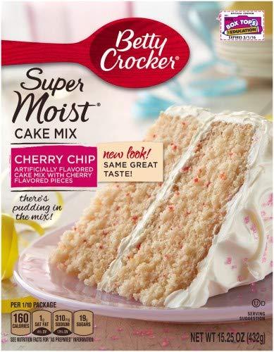 Betty Crocker Super Moist Cake Mix Cherry Chip (Pack of 4) (Cherry Cake Mix)