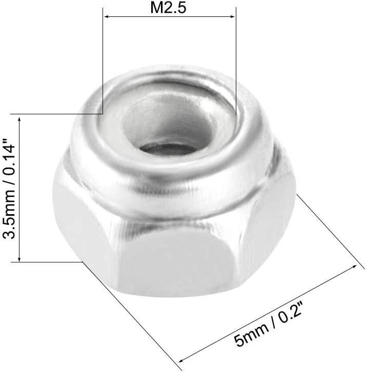 uxcell M2.5 x 0.45mm Nylon Insert Hex Lock Nuts Pack of 50 Plain Finish 304 Stainless Steel