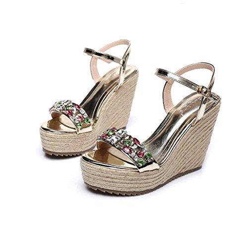 Dream Summer Wedge Shoes Hand-Woven High-Heeled Sandals Sexy Ankle Shoes (Color : Gold 10cm, Size : 38)