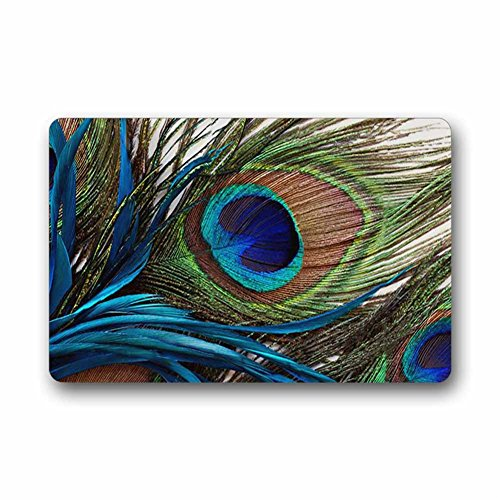 Custom Peacock Feathers Machine Washable Top Fabric Non-slip Rubber Indoor Outdoor Home Office Bathroom Doormat Size 23.6x15.7