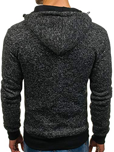 Éclair Sweatshirt 1a1 Capuche Sportif Noir Style Homme Bolf ak49 Fermeture 6naxfaH