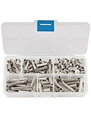 INCREWAY Phillips Screws, 100 Sets 5mm X 8/15/20/25/30mm Nickel Plated Chicago Binding Screws, Round Cross Head Stud Screw Posts Nail Rivet Chicago Button, Silver Tone