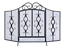 Deco 79 Metal Fire Screen, 60 by 40-Inch