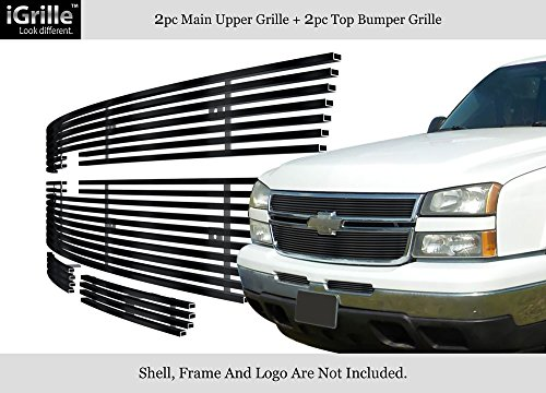 APS Compatible with 2006 Chevy Silverado 1500 05-06 2500 Stainless Black Billet Grille Grill Combo C67673J