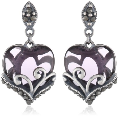 Marcasite Heart Shaped Ring - Sterling Silver Oxidized Genuine Marcasite and Amethyst Colored Glass Filigree Heart Drop Earrings