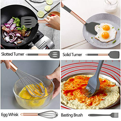 Silicone Cooking Utensil Set,AILUKI Kitchen Utensils 17 Pcs Cooking Utensils Set,Non-stick Heat Resistant Silicone…