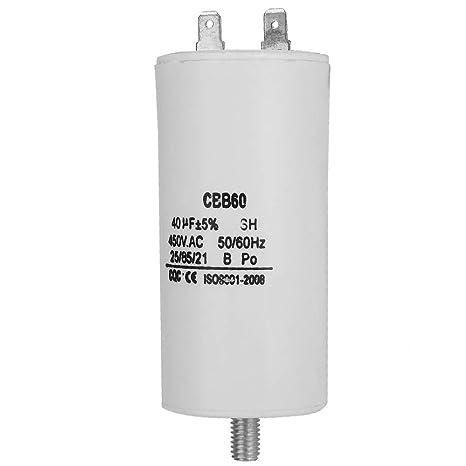 1pc CBB60 AC 450V 40uF Cylinder Shaped Non Polar Water Pump Capacitor