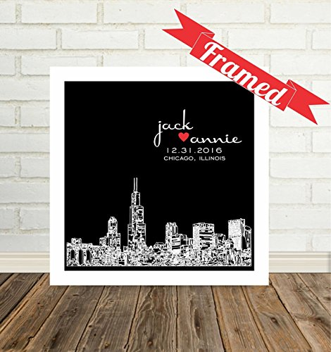 Chicago Skyline Personalized Wedding Gift Framed Art Chicago Art Chicago Print Chicago Gift Unique Wedding Gift for Couple Any City Available WORLDWIDE!