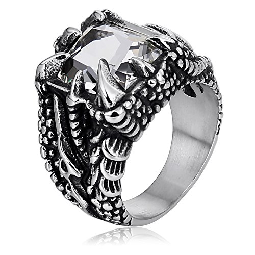 (Aokarry Stainless Steel Ring for Men Dragon Claw Gem White Two Tone Punk Style Size 11)