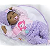"""NPK Reborn Baby Dolls African American Girl 22"""" Soft Silicone Vinyl Lifelike Handmade Weighted Baby Toddler Gifts cute doll Gift Set for Ages 3+"""