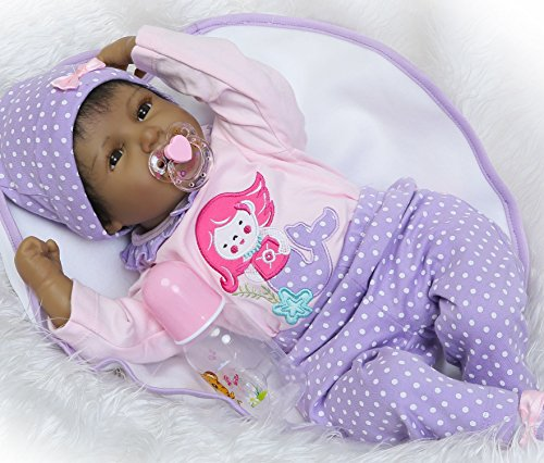 "Search : NPK Reborn Baby Dolls African American Girl 22"" Soft Silicone Vinyl Lifelike Handmade Weighted Baby Toddler Gifts cute doll Gift Set for Ages 3+"