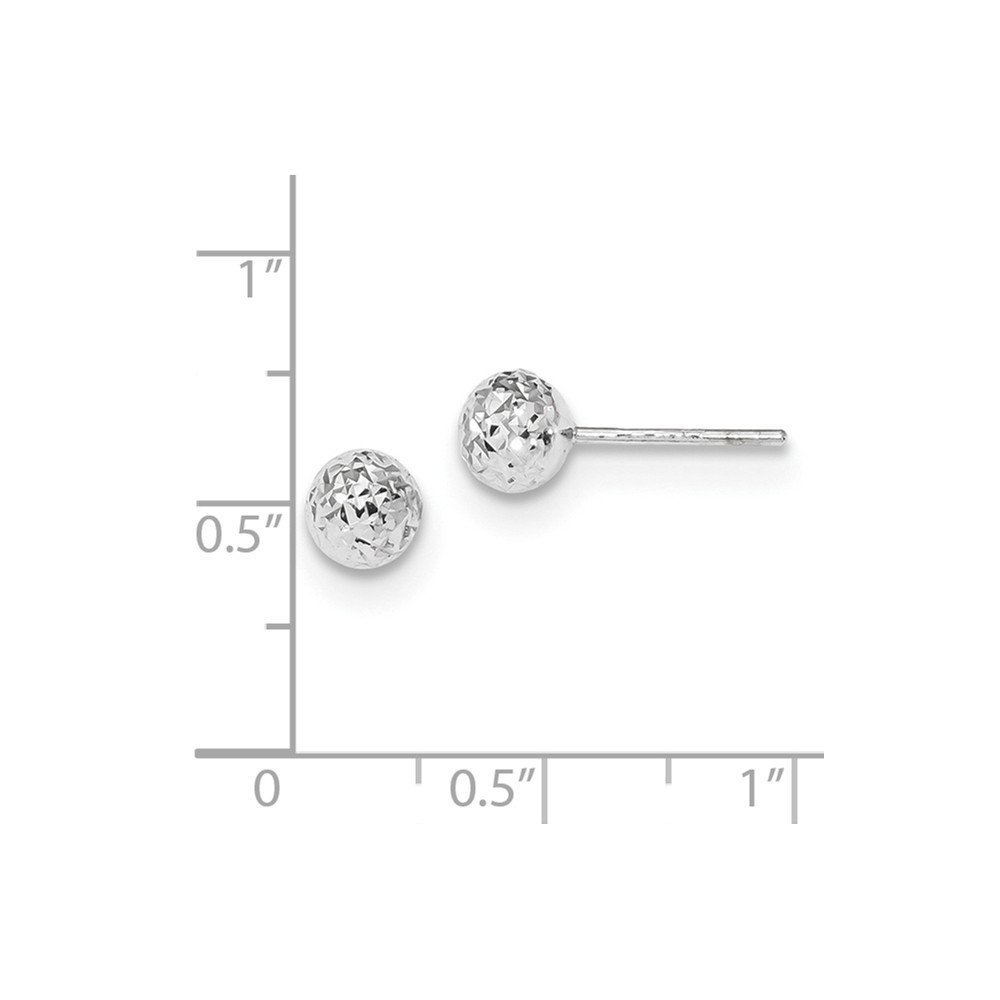 14k White Gold Diamond-cut 6mm Ball Post Earrings ~ from Roy Rose Jewelry