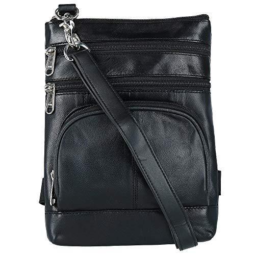 CTM Leather Biker Hook Waist Belt Bag with Thigh Strap, Black (Leather Biker Belt)