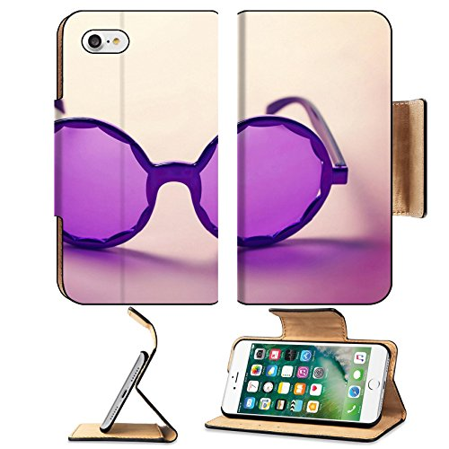 Luxlady Premium Apple iPhone 7 Flip Pu Leather Wallet Case IMAGE ID: 34009416 Funky purple sixties hippy sunglasses with shadows - Funk Price Sunglasses